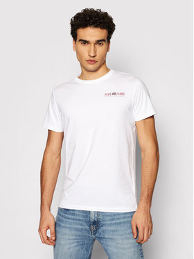 Pepe Jeans Pepe Jeans T-shirt Ramon PM507849 Bianco Slim Fit