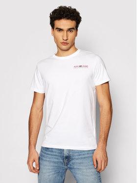 Pepe Jeans Pepe Jeans Тишърт Ramon PM507849 Бял Slim Fit