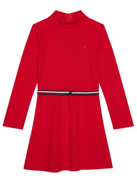 TOMMY HILFIGER TOMMY HILFIGER Každodenní šaty Essential Skater KG0KG05437 D Červená Regular Fit