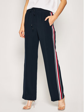 Tommy Hilfiger Tommy Hilfiger Hlače ICONS Double Crepe WW0WW27761 Tamnoplava Regular Fit