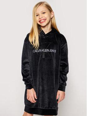 Calvin Klein Jeans Calvin Klein Jeans Každodenní šaty Velour Monogram Hoodie IG0IG00711 Černá Regular Fit