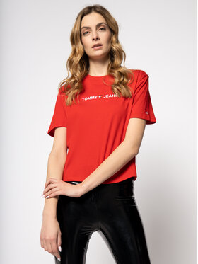 Tommy Jeans Tommy Jeans Marškinėliai Tjw Liner Logo Detail Tee DW0DW07530 Raudona Regular Fit