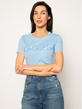 Guess Guess T-Shirt Satinette Tee W0GI18 K46D0 Blau Regular Fit