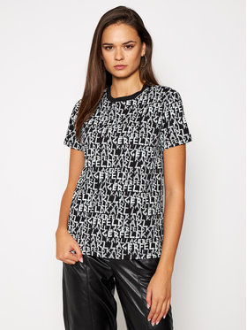 KARL LAGERFELD KARL LAGERFELD T-Shirt All Over Graffiti Logo 206W1702 Czarny Regular Fit