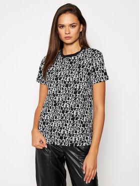 KARL LAGERFELD KARL LAGERFELD T-Shirt All Over Graffiti Logo 206W1702 Schwarz Regular Fit