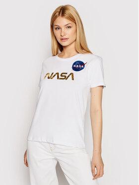 Alpha Industries Alpha Industries T-Shirt Nasa Pm 198053 Biały Regular Fit