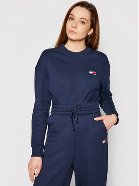 Tommy Jeans Tommy Jeans Bluză Tjw Super Cropped Badge Crew DW0DW09797 Bleumarin Regular Fit