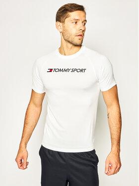 Tommy Sport Tommy Sport Marškinėliai Trainning Mesh Logo S20S200357 Balta Regular Fit