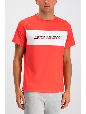 Tommy Sport Tommy Sport Marškinėliai Mesh Sleeve S20S200199 Raudona Regular Fit