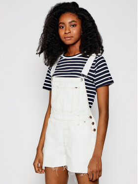 Tommy Jeans Tommy Jeans Nohavice na traky Dungaree DW0DW10109 Biela Oversize