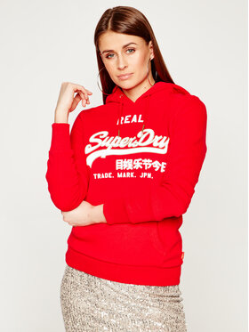 Superdry Superdry Mikina V Logo CNY Reflective Entry W2000105A Červená Regular Fit