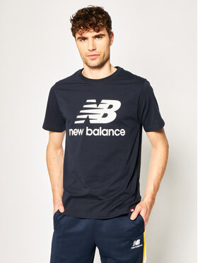 New Balance New Balance T-Shirt Essentials Stacked Logo Tee MT01575 Granatowy Athletic Fit