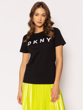 DKNY DKNY Póló W3276CNA Fekete Regular Fit