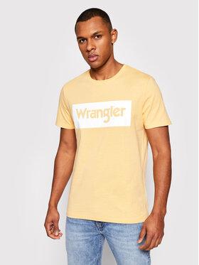 Wrangler Wrangler T-shirt Ss Logo Tee W742FKA11 Žuta Regular Fit