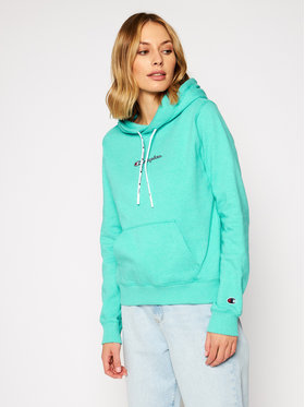 Champion Champion Mikina Satin Stitch Script Logo Eco Yarn Hoodie 113198 Zelená Regular Fit