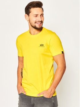 Alpha Industries Alpha Industries T-Shirt Basic T Small Logo 188505 Żółty Regular Fit