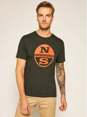 North Sails North Sails T-Shirt Graphic 692581 Zielony Regular Fit