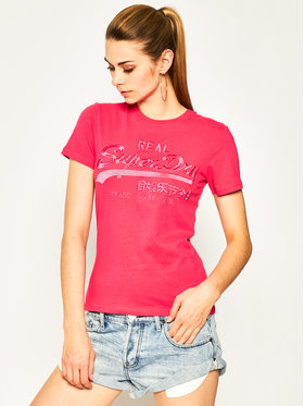 Superdry Superdry T-Shirt Tonal Embroidery W1010028A Różowy Regular Fit