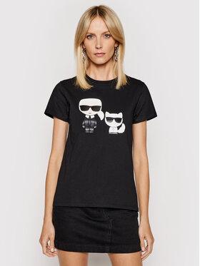KARL LAGERFELD KARL LAGERFELD T-shirt Ikonik & Choupette 210W1724 Crna Regular Fit