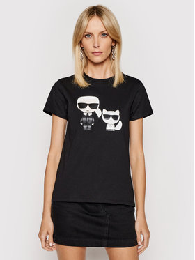 KARL LAGERFELD KARL LAGERFELD T-Shirt Ikonik & Choupette 210W1724 Schwarz Regular Fit