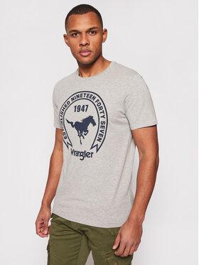 Wrangler Wrangler T-shirt Americana W7AGD3X37 Siva Regular Fit