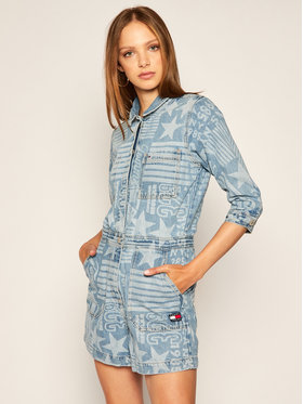 Tommy Jeans Tommy Jeans Overal Logo Playsuit DW0DW08616 Modrá Regular Fit