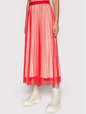TWINSET TWINSET Plisovaná sukňa 212TT2060 Červená Regular Fit