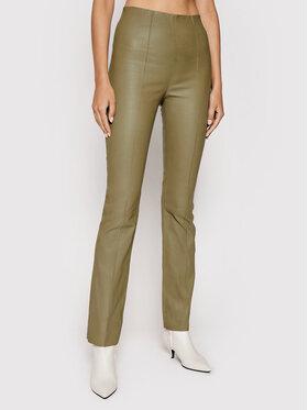 Remain Remain Spodnie z imitacji skóry Floral RM452 Beżowy Skinny Fit