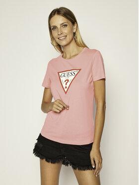 Guess Guess T-shirt Triangle Logo W0YI57 K8HM0 Rosa Regular Fit