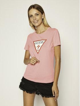 Guess Guess T-Shirt Triangle Logo W0YI57 K8HM0 Różowy Regular Fit