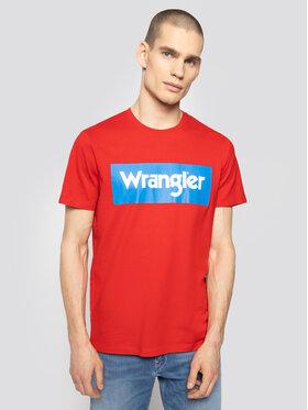 Wrangler Wrangler Póló Ss Logo Tee W742FKXWO Piros Regular Fit