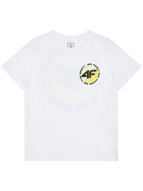 4F 4F T-Shirt HJL21-JTSM008A Biały Regular Fit