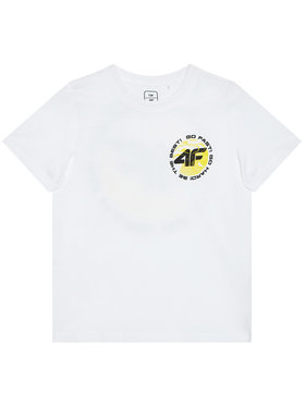 4F 4F T-Shirt HJL21-JTSM008A Bílá Regular Fit