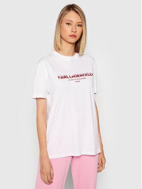 KARL LAGERFELD KARL LAGERFELD T-Shirt Rsg Address Logo 215W1706 Bílá Regular Fit