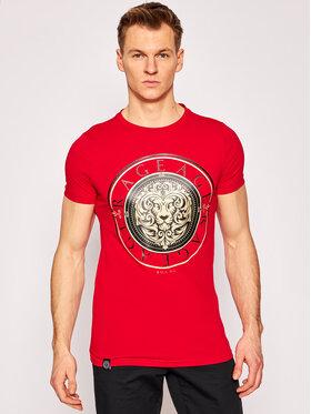 Rage Age Rage Age T-Shirt Gold Lion Červená Slim Fit