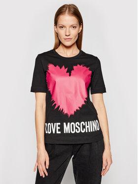 LOVE MOSCHINO LOVE MOSCHINO Póló W4F153AM 3876 Fekete Regular Fit