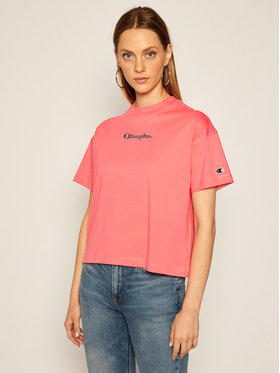Champion Champion T-Shirt Cropped Oversized Small Script Logo 113195 Rosa Custom Fit