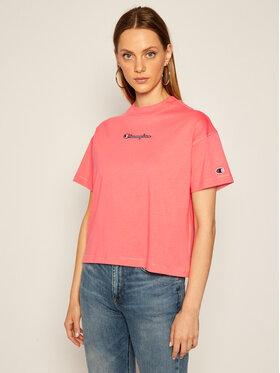 Champion Champion T-shirt Cropped Oversized Small Script Logo 113195 Rose Custom Fit