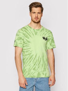 HUF HUF T-shirt HAZE Brush Tie Dye TS01383 Verde Regular Fit