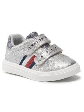 Tommy Hilfiger Tommy Hilfiger Сникърси Low Cut Velcro Sneaker T1A4-31012-0621939 M Сребрист