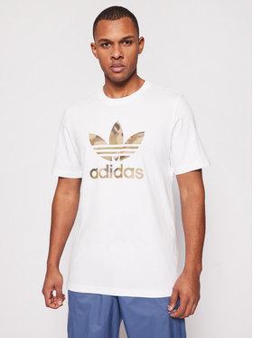 adidas adidas Marškinėliai Camo Trefoil Tee GN1855 Balta Regular Fit