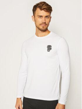 KARL LAGERFELD KARL LAGERFELD Тениска с дълъг ръкав Crewneck 755081 502221 Бял Regular Fit