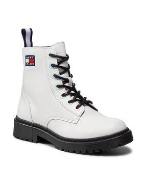Tommy Jeans Tommy Jeans Trapery Iridescent Eyelets Flat Boot EN0EN01537 Biały