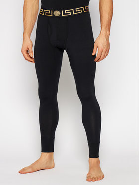 Versace Versace Долни мъжки клинове Long John Intimo AU100023 Черен Slim Fit