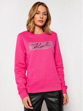 KARL LAGERFELD KARL LAGERFELD Sweatshirt Rhinestone Signature 206W1810 Rosa Regular Fit