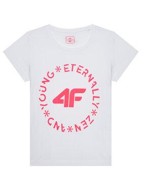 4F 4F T-Shirt HJL21-JTSD005A Biały Regular Fit
