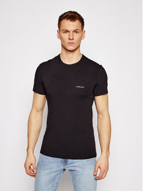 Versace Versace T-Shirt Mc Girocollo AUU04023 Czarny Slim Fit