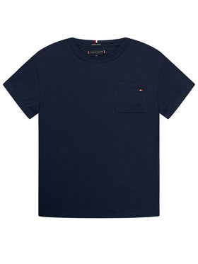 TOMMY HILFIGER TOMMY HILFIGER T-Shirt Pocket Sleeve Detail Tee KB0KB06132 M Granatowy Regular Fit