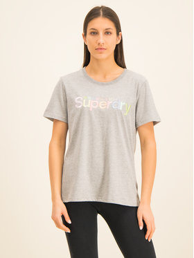 Superdry Superdry T-Shirt Classic Rainbow Emb Entry Tee W1000057A Szary Classic Fit