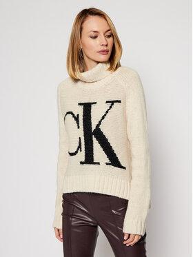 Calvin Klein Jeans Calvin Klein Jeans Bluză cu gât J20J214831 Bej Regular Fit